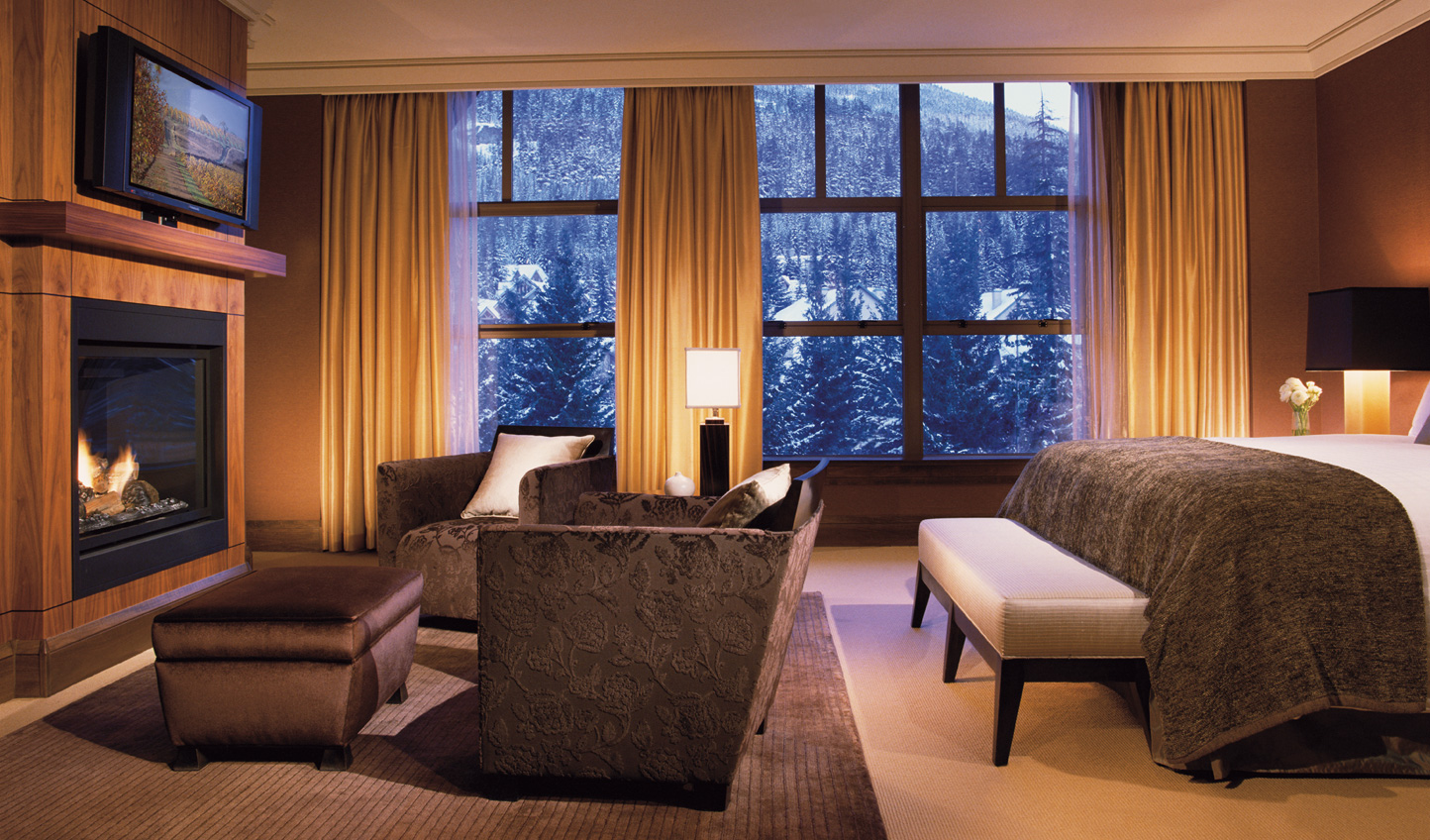 Cosy up in front of the fire and watch the snow drift down