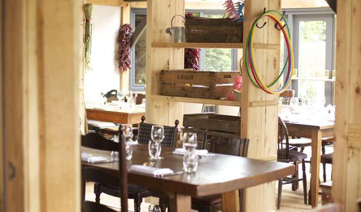 Rustic dining in the barn