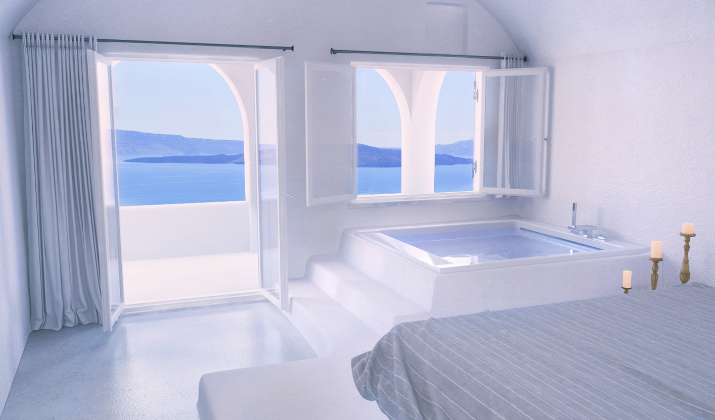 Look out over endless blue waters from your suite