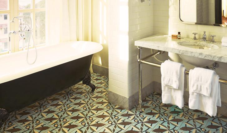 The tiled bathrooms