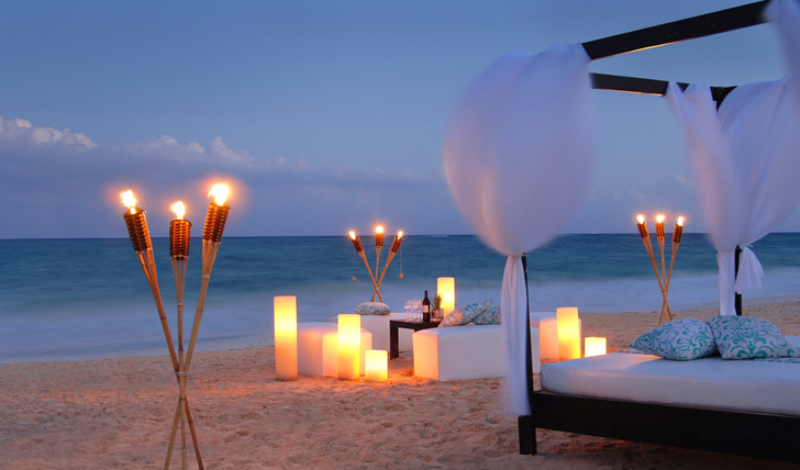 Dine at dusk on the beach