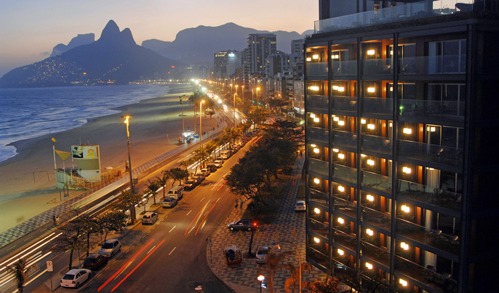 Rio beach front  at dusk