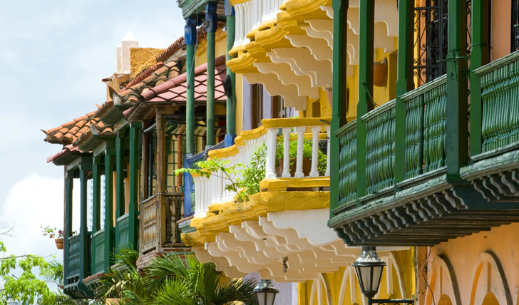 Brightly painted balconies