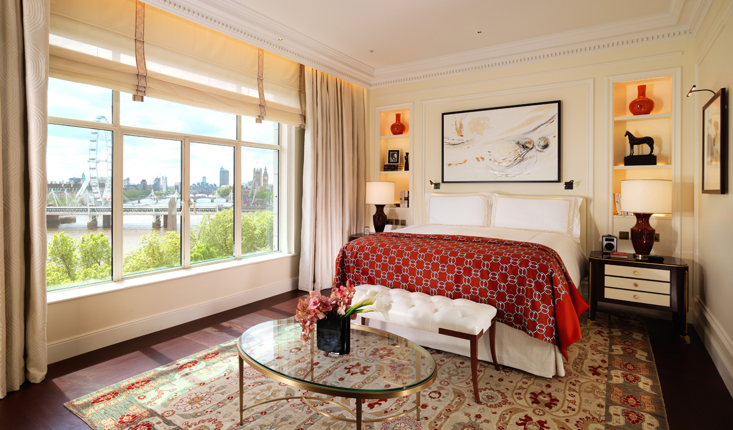 Relax in the luxury of the Savoy Suite and enjoy views across the Thames