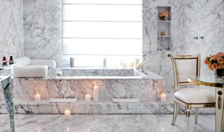Luxurious marble bathrooms
