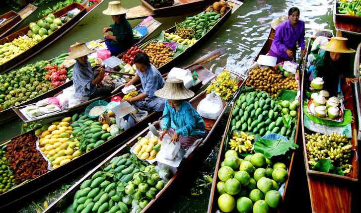 See the infamous floating market in Bangkok