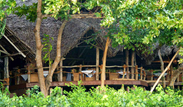 Tree top restaurant at Fundu Lagoon