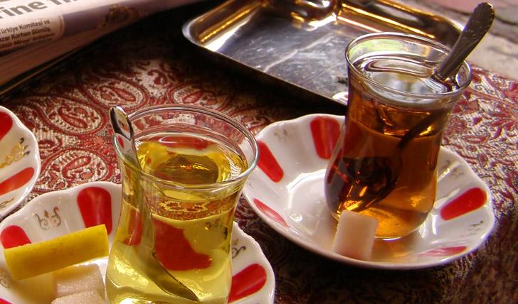 Sip Turkish tea at the market