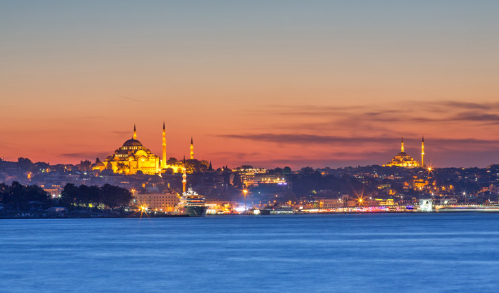 Views from the Bosphorus at dusk