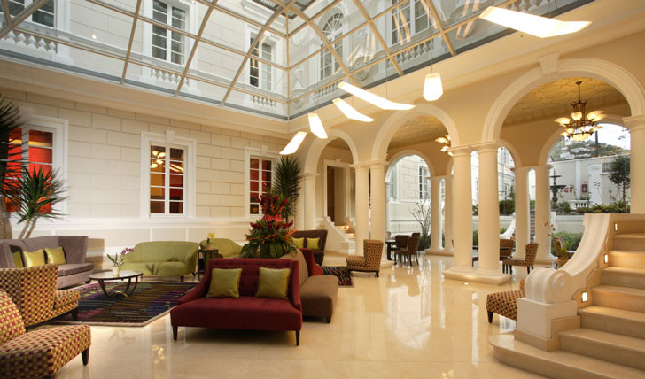 Lobby of luxury hotel in Quito