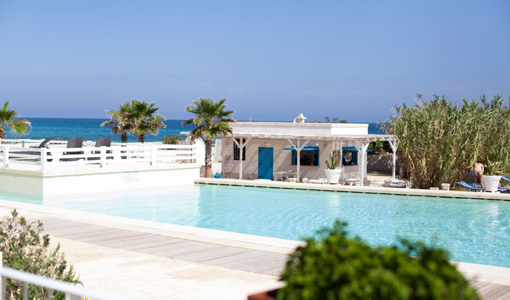 Pool at luxury hotel Canne Bianche, Italy