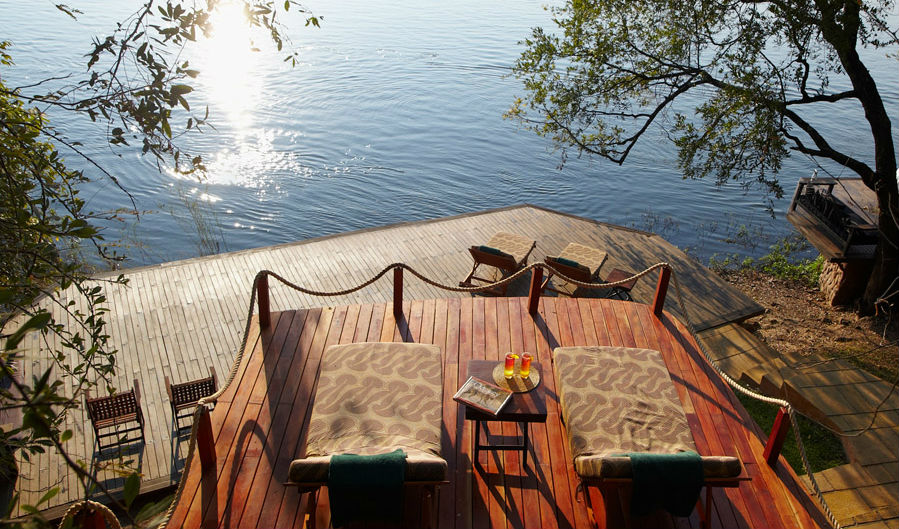 Catch a few rays on the terrace at Tongabezi