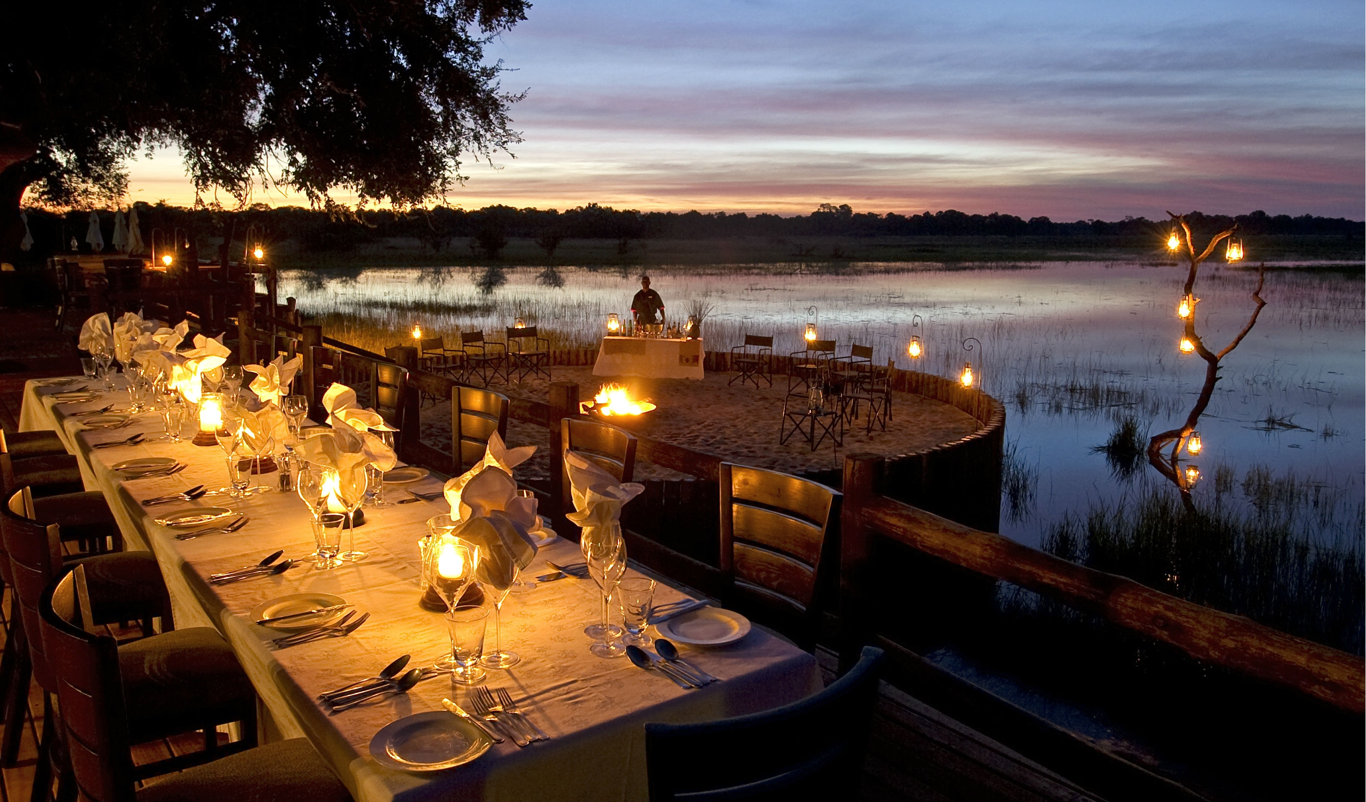 Enjoy lantern lit dinners on the delta