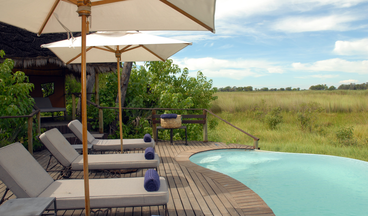 Relax by the pool looking out over the Okavango Delta