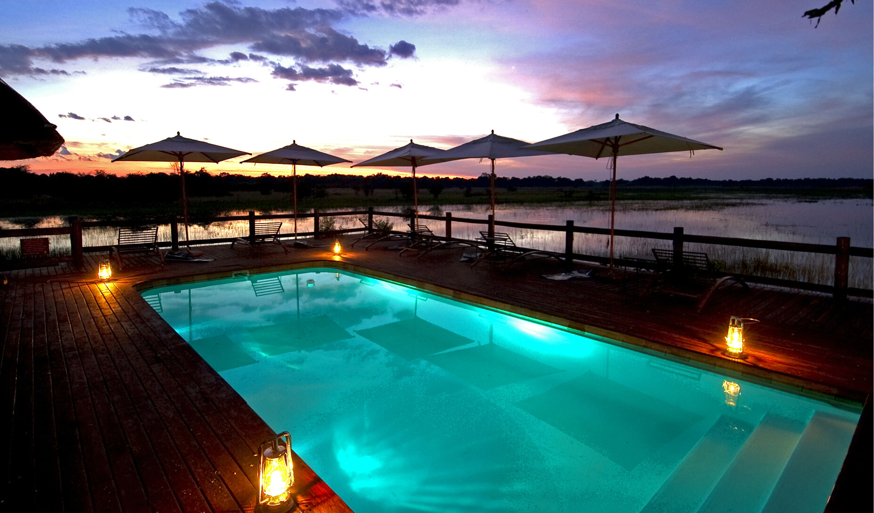 Pool at luxury camp in Botswana