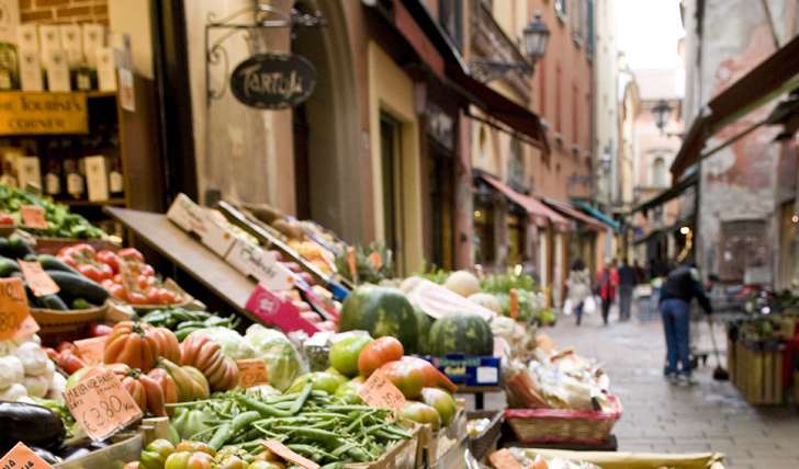 A food market in Bologna, Italy
