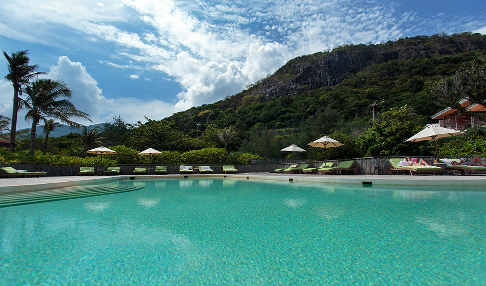 Gaze at the Co Voi Mountains from the pool