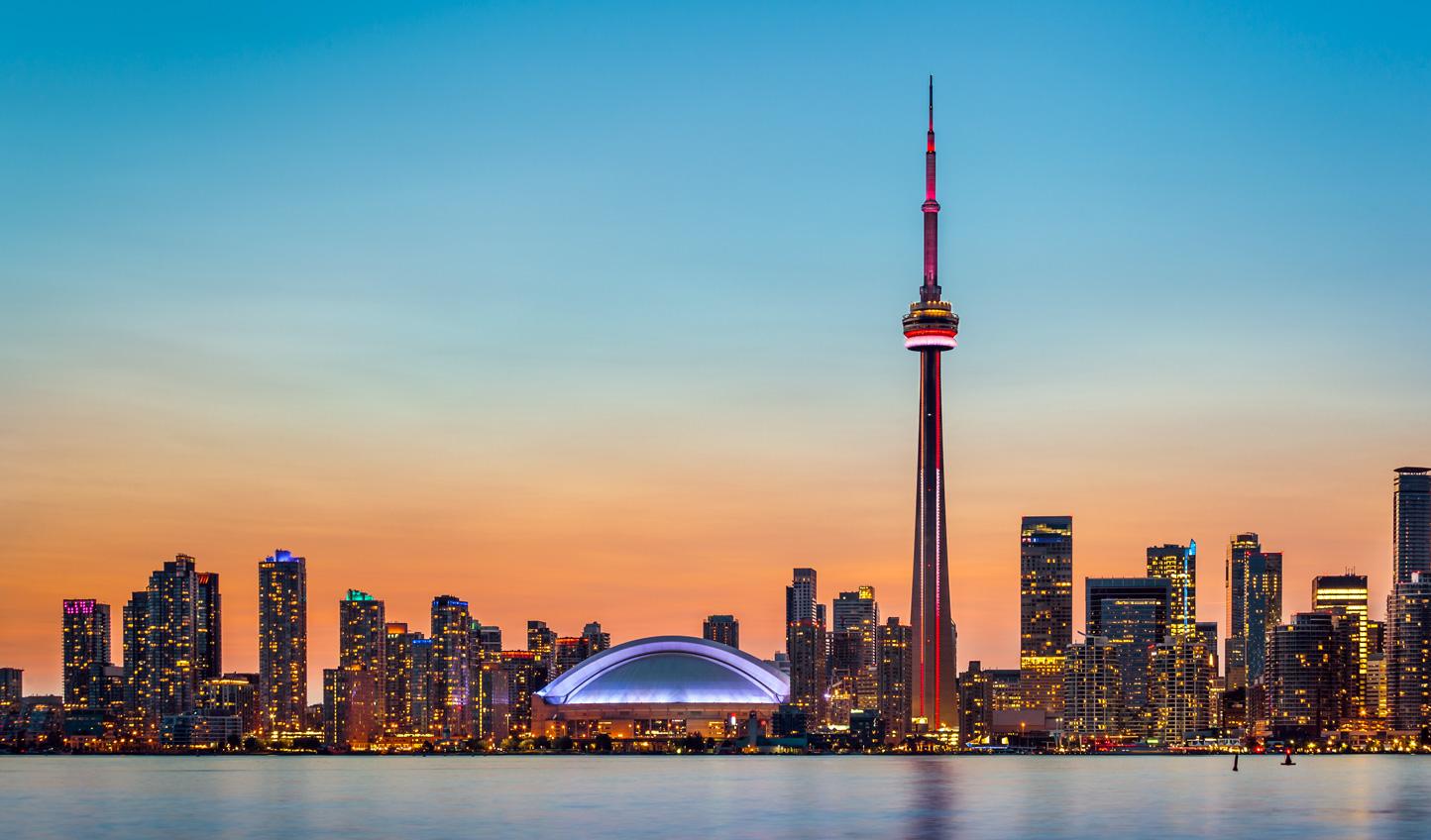 The Toronto skyline and Lake Ontario at twilight