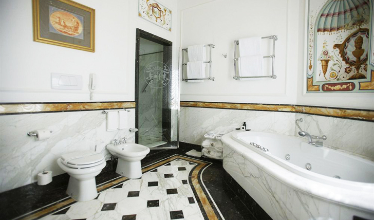 Vast tiled bathrooms