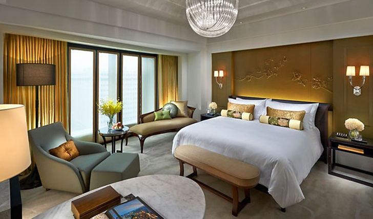 A bedroom at the Mandarin Oriental, Taipei