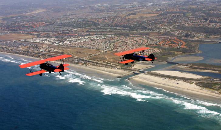 Biplanes Flying Over San Diego by Joanne DiBona