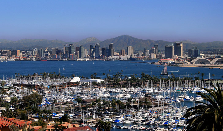 Downtown from Point Loma in San Diego