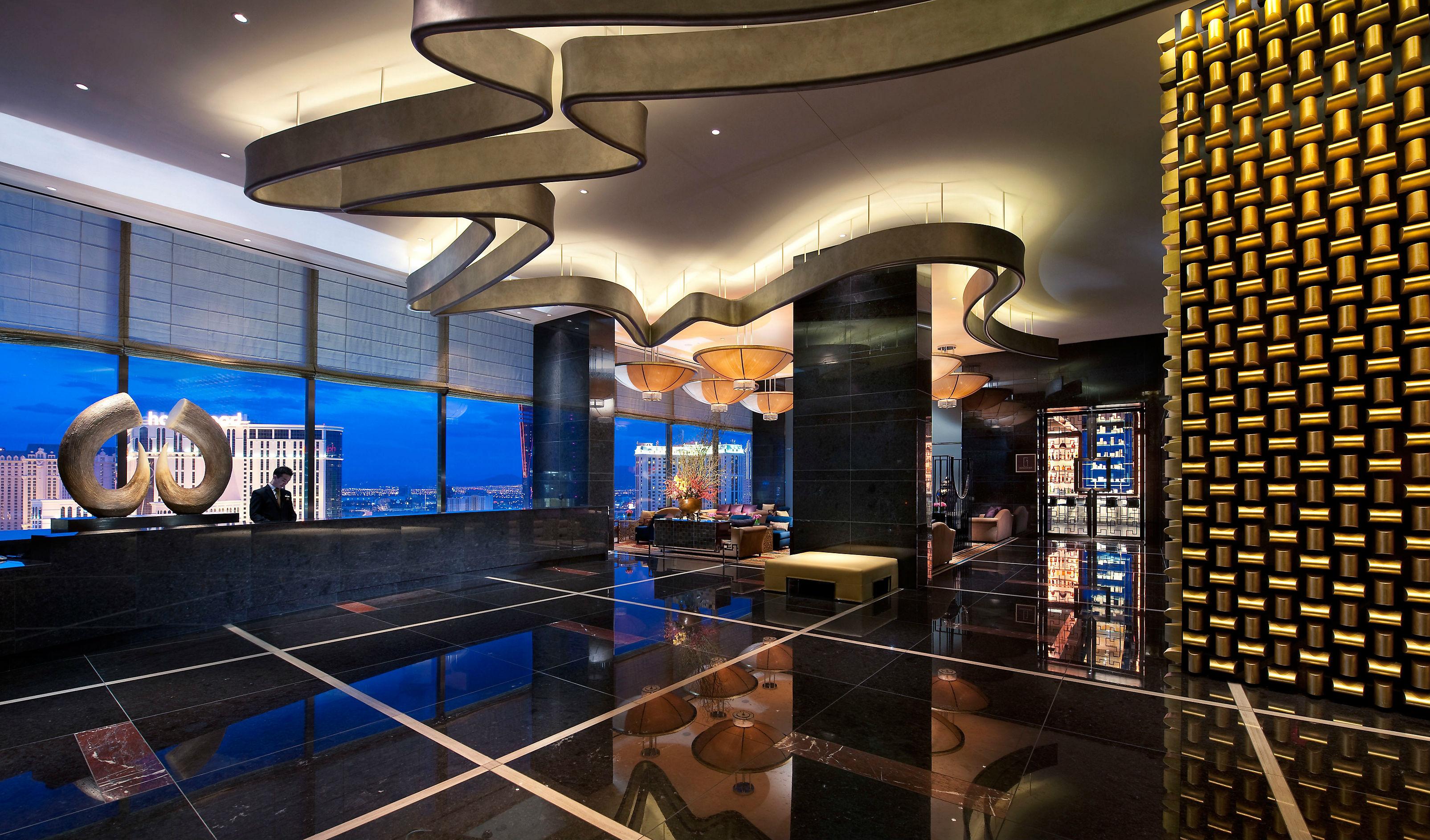 The sleek Sky Lobby