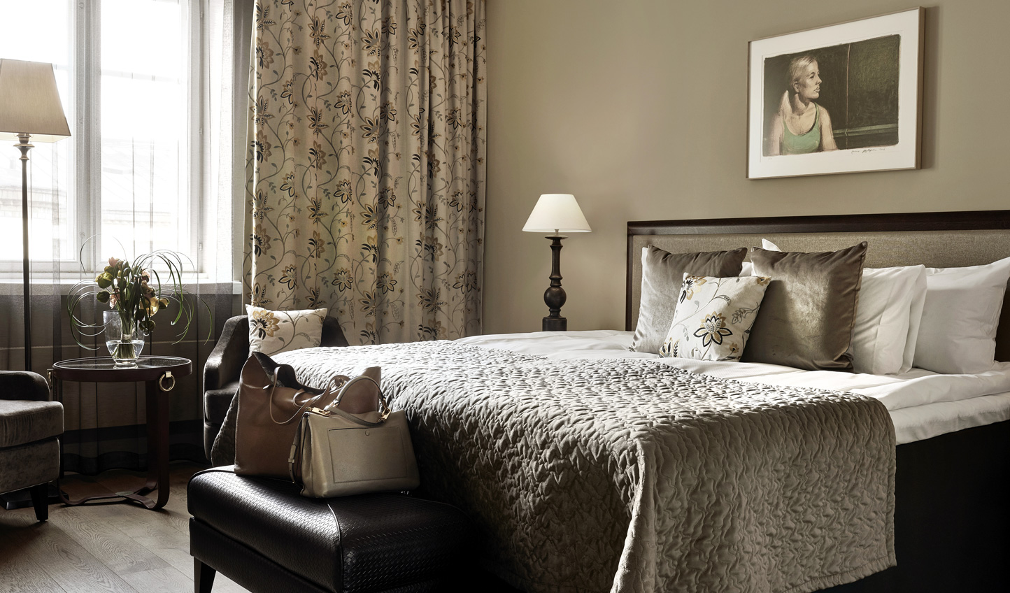 Neutral hues and sumptuous fabrics create a luxurious space to escape to