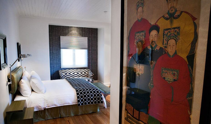 Luxury hotel guestroom at the Aubrey, Chile