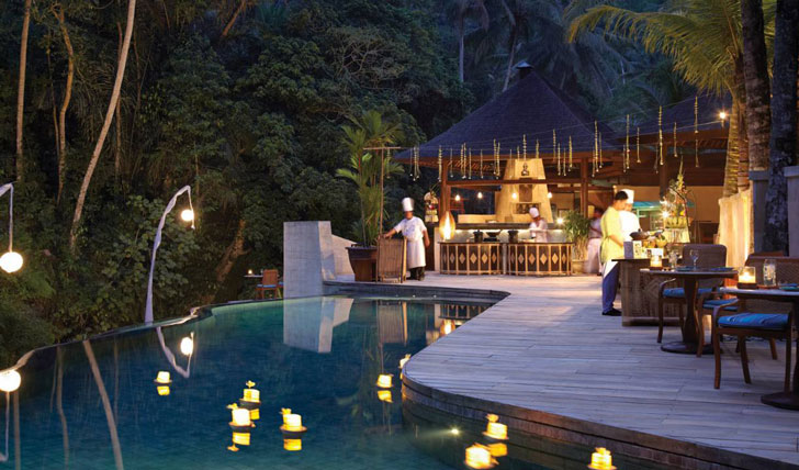 Luxury hotel pool and dining at the Four Seasons Bali at Sayan, Ubud, Bali, Indonesia
