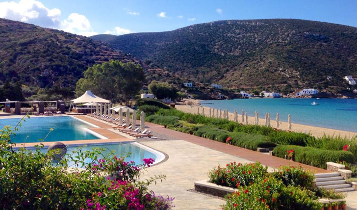Luxury hotel pool at Elies Resort in Sifnos, Greece