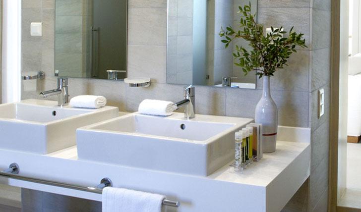 Luxury hotel bathroom at Elies Resort in Sifnos, Greece