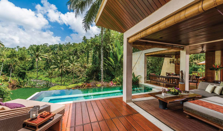 Luxury hotel villa at the Four Seasons Bali at Sayan, Ubud, Bali, Indonesia