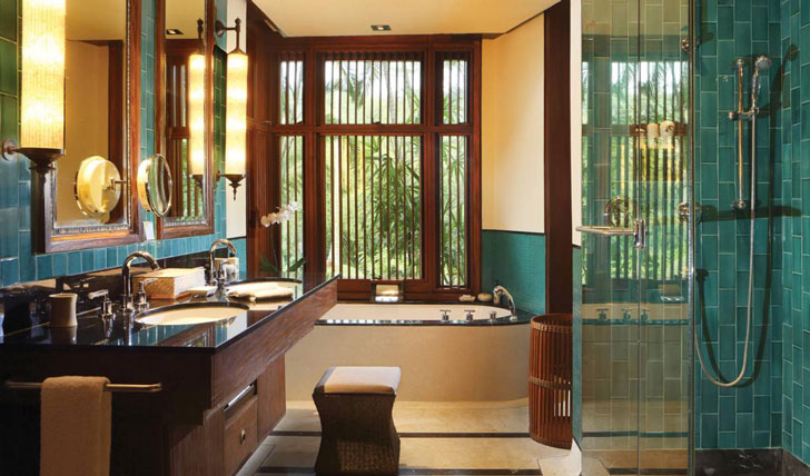 Luxury hotel suite bathroom at the Four Seasons Bali at Sayan, Ubud, Bali, Indonesia