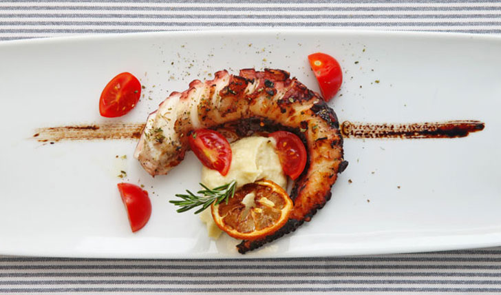 Luxury hotel lobster dish at Elies Resort in Sifnos, Greece