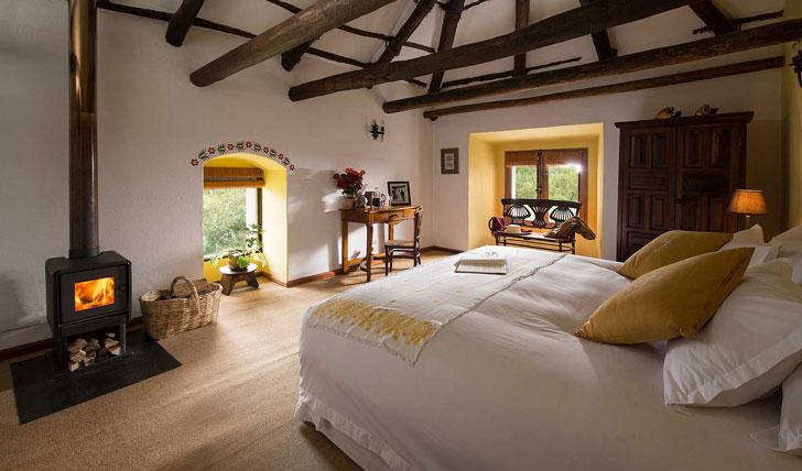 Luxury hotel guestroom at the Hacienda Zuleta, Ecuador
