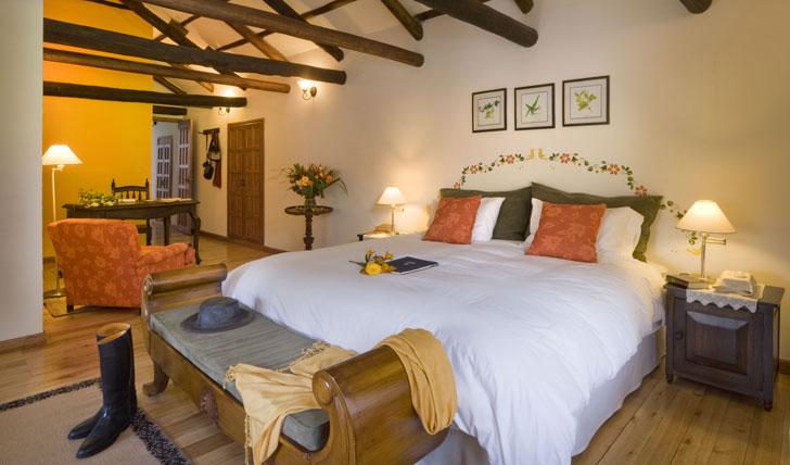 Luxury hotel suite at the Hacienda Zuleta, Ecuador