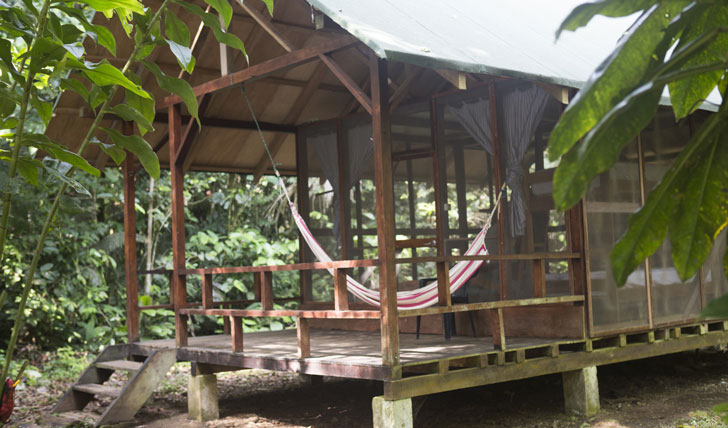 The Huaorani Ecolodge cabin in the Amazon, Ecuador