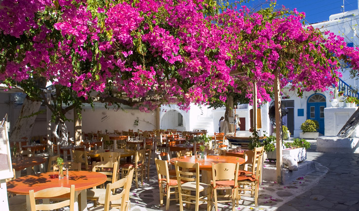 Dining in Mykonos, Greece