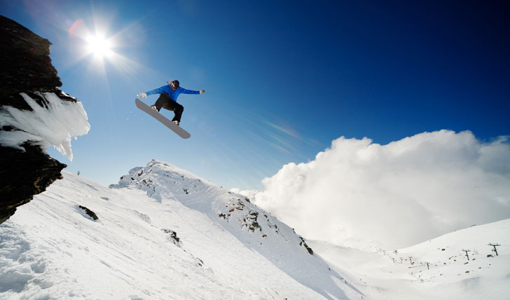 Try out some snowboard freestyle