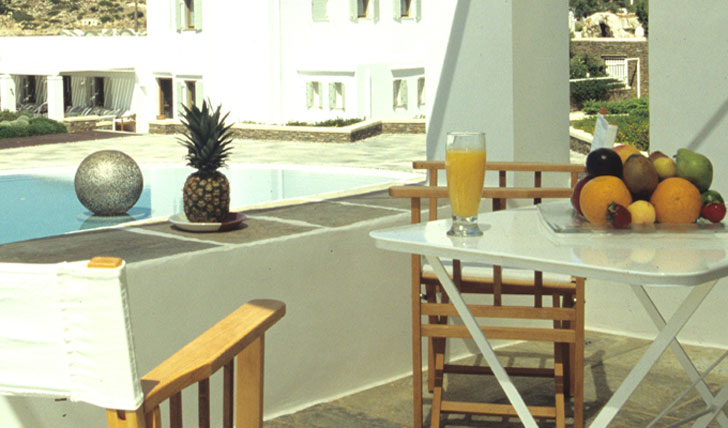 Luxury hotel private balcony at Elies Resort in Sifnos, Greece