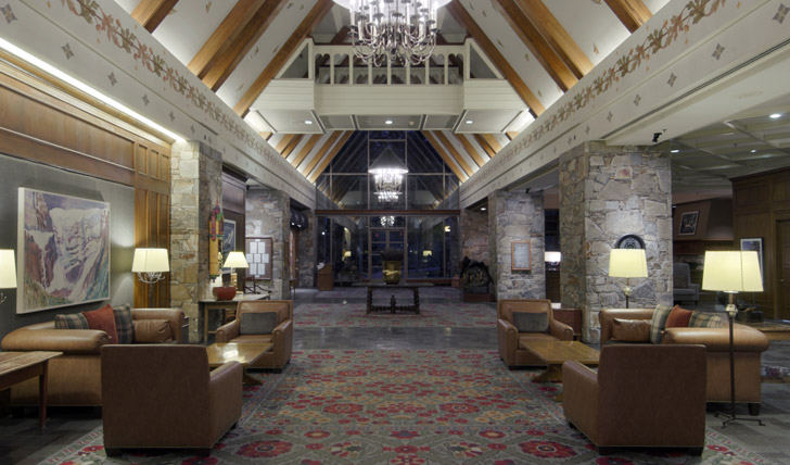 The lobby of the Fairmont Whistler