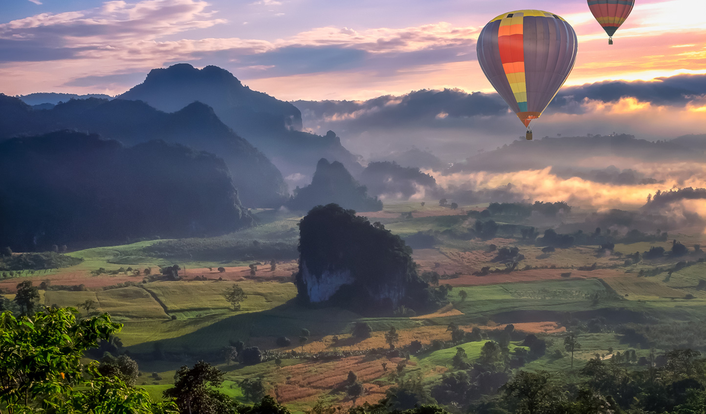 There's no better place to view Thailand than from above in a hot air balloon at sunset