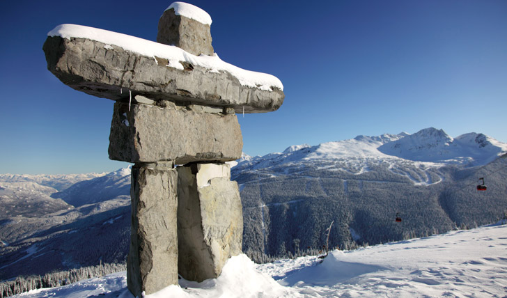 Skiing landscape in Whistler, Canada