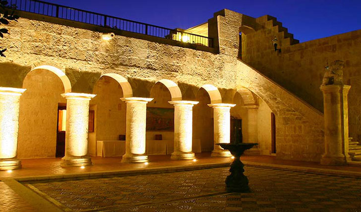 Luxury hotel courtyard at Casa Andina, Arequipa, Peru