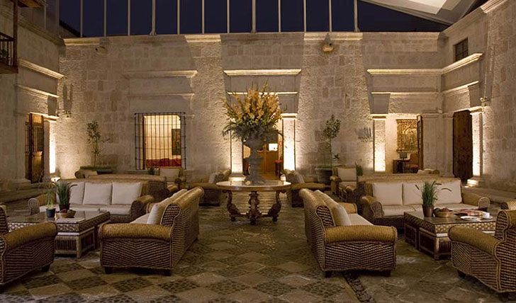 Luxury hotel foyer at Casa Andina, Arequipa, Peru