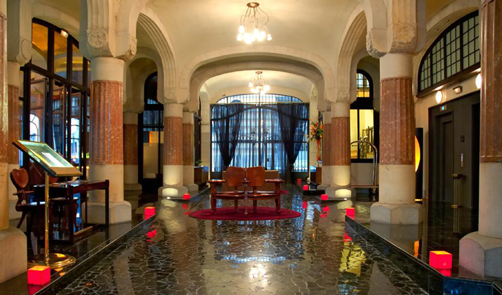 Luxury hotel lobby at the Casa Fuster, Barcelona, Spain