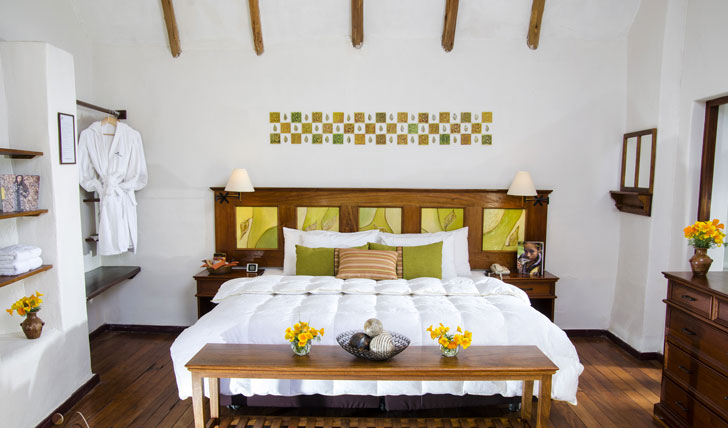 Luxury hotel guestroom at the Colca Lodge Spa & Hot Springs, Colca Valley, Peru