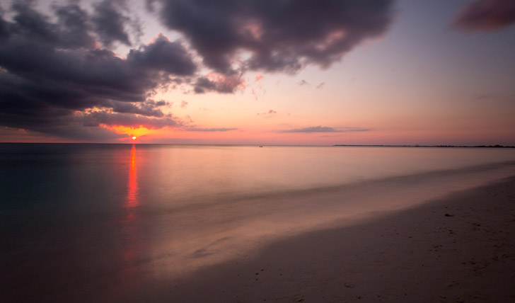 A pink sky over Grand Cayman