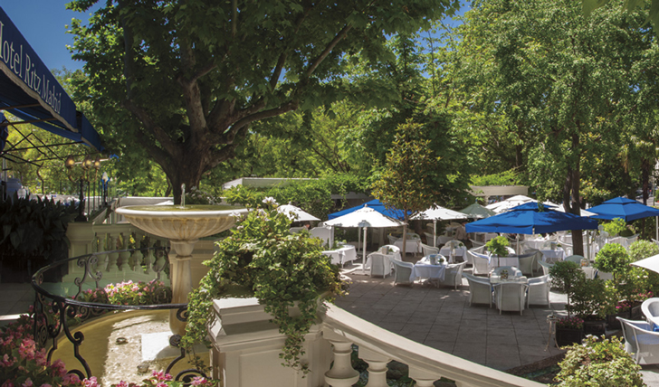 Luxury hotel terrace at the Hotel Ritz Madrid, Madrid, Spain
